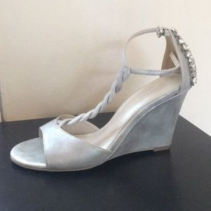 David's Bridal jewel-back shimmery silver wedges